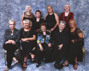 2015 Annual Charity Ball: First Row: Katy O'Connell, Dina Parker, Gladys Gleason, Marlene Henry,  Frannie Donoghue  Second Row:  Tricia Mauller, Mary Sutherland,   Mary Walker, Sue Richter
